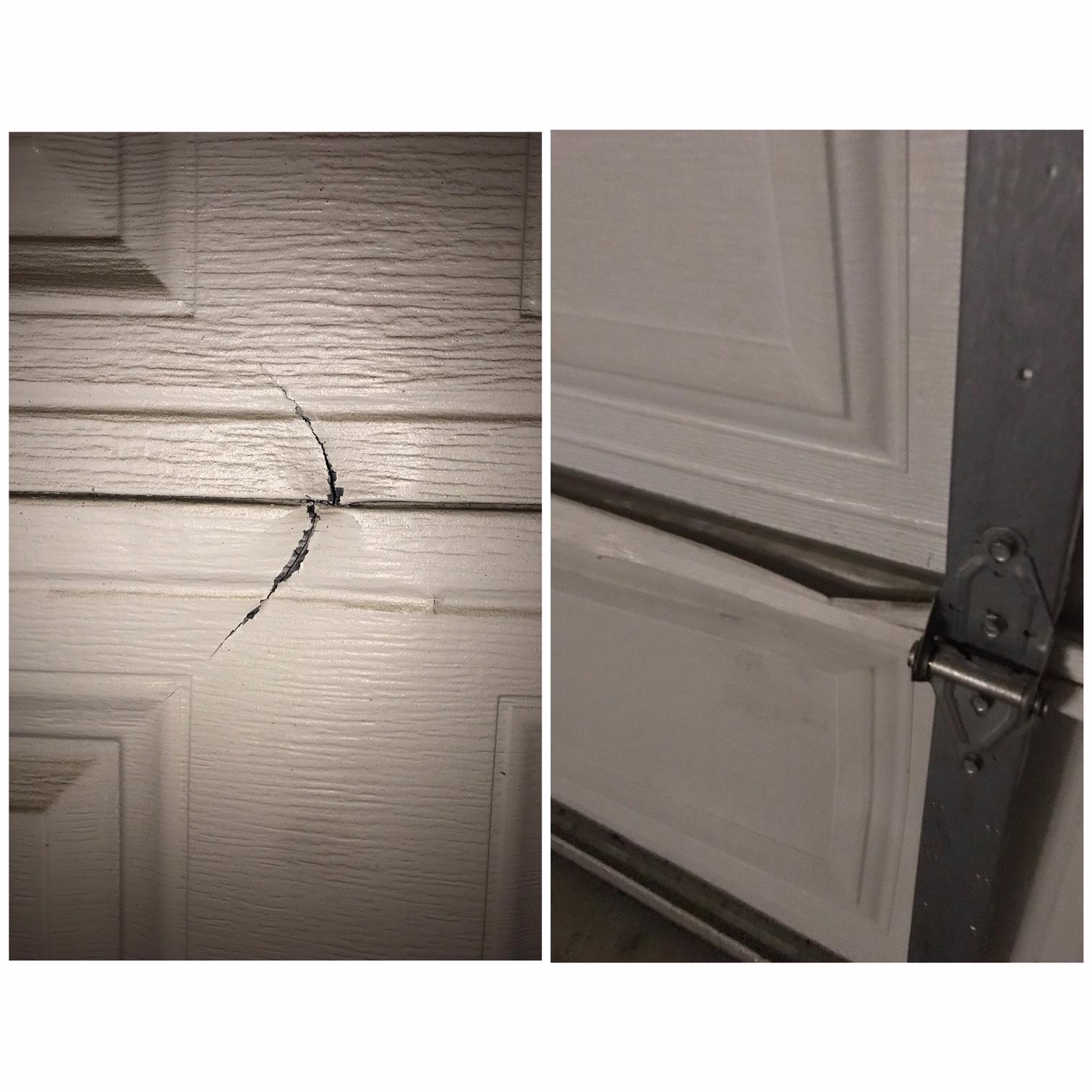 Garage Door With Damaged Panel In Riverside Absolute Garage Doors